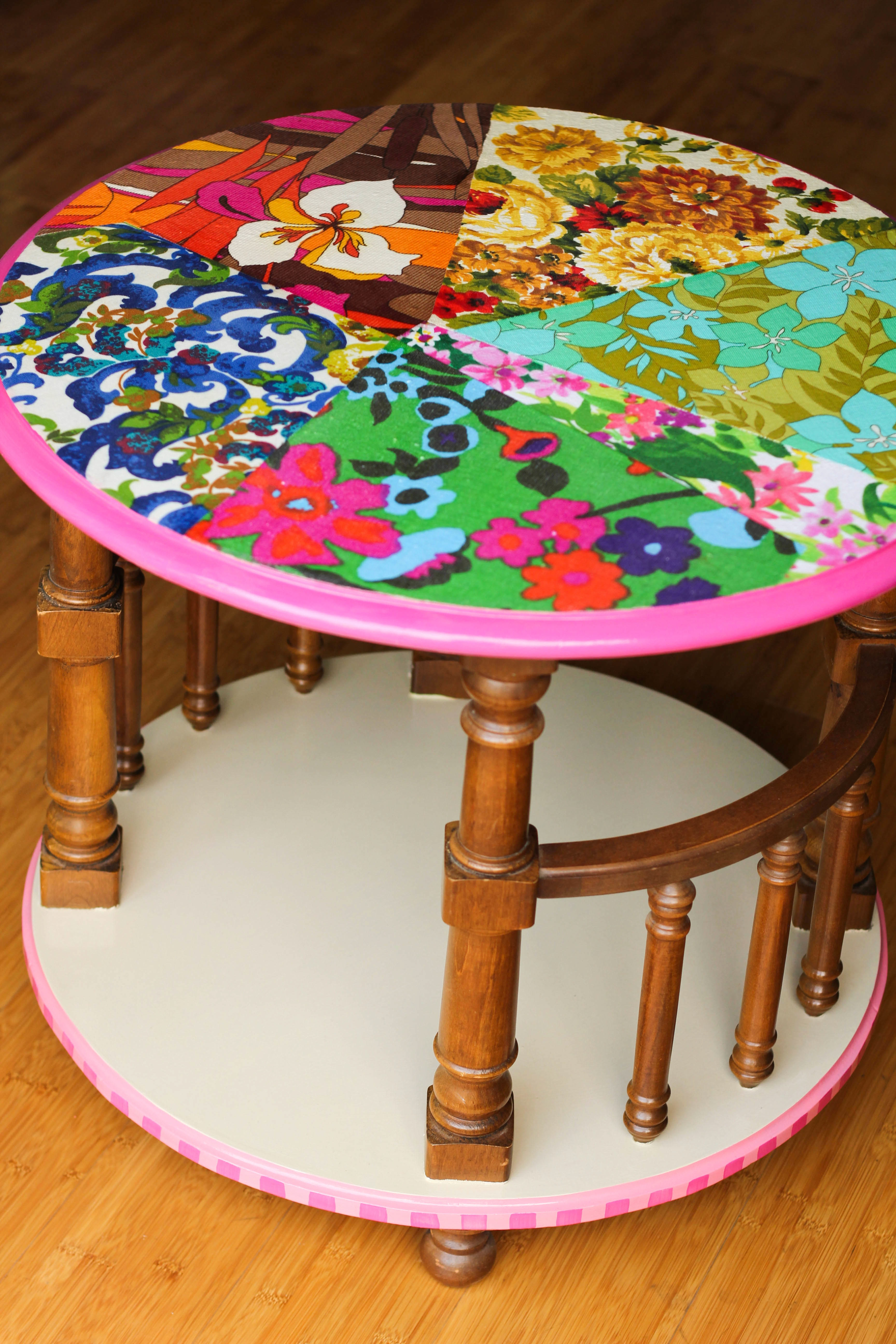 Flora The Table With Her Vibrant Vintage Fabric Decoupage Top